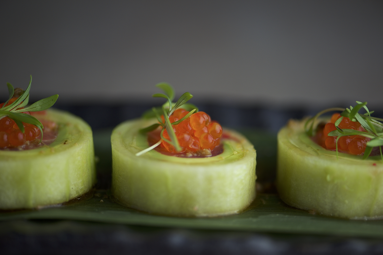 image of sushi roll in cucumber